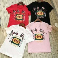 GUCCI Fashion women flower embroidery blouse T-shirt top I
