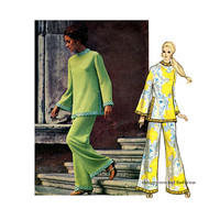 1970s Vogue 2333 TUNIC & PALAZZO PANTS Pattern Straight Leg Pants Bell Sleeves Pucci Vogue Couturier Size 14 Bust 36 Womens Sewing Patterns