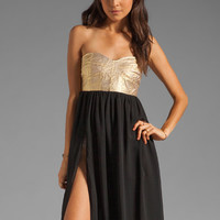 One Teaspoon Cash On Sequin Bustier Maxi Dress in Black