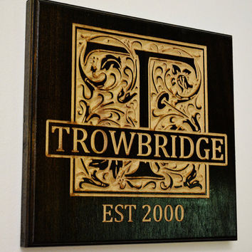 Custom Personalized Family Monogram - Established Sign - Stained Carved Wooden Sign