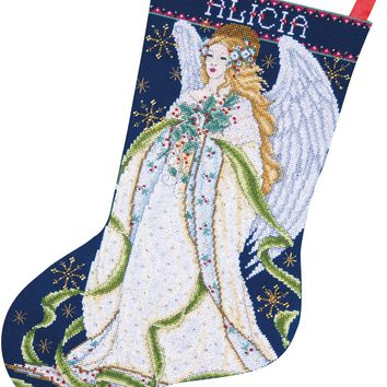 """Holly Angel Stocking Counted Cross Stitch Kit 17"""" Long 14 Count"""