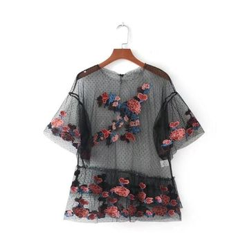 Women Sheer Shirt Sexy Floral Embroidery Blouse See Through Transparent Mesh Top Short Sleeve Round Neck Tops Blusa
