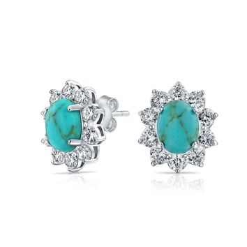 Oval Crown CZ Halo Turquoise Stud Earrings White Gold Plated
