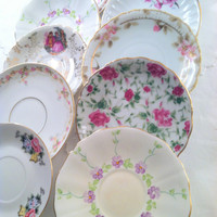 Set of 12 - Vintage Medley Mismatched Demitasse Saucers Tea Party Wall Display Bridal Shower Favors Bachelorette Party Gifts