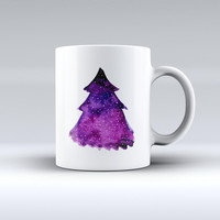 The Purple Watercolor Evergreen Tree ink-Fuzed Ceramic Coffee Mug