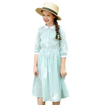 Lovely Baby Girl Doll Collar Fall Navy Blue striped  Cotton Dress School Style Striped Long Sleeve A-Line Dresses for Girl 3-14T