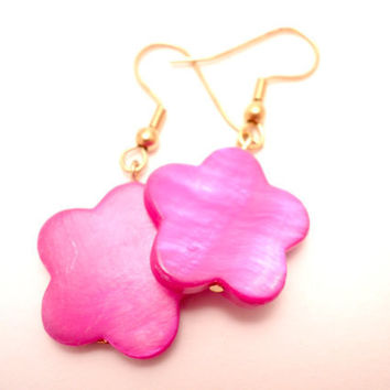 Earrings with Pink Shell Flowers by Septagram on Etsy