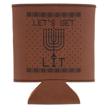 Hanukkah Let's Get Lit Ugly Sweater Etched Leatherette Can Cooler
