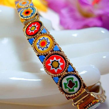 "Czech Cut Glass Bracelet Milifiori Style Multi Colored Discs & Enamel Gold Metal 7.5"" Vintage"
