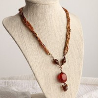 Handmade Fiery Jellybean Necklace , 20 inches, Rosy Bronze Metal | peaceloveandallthingsjewelry - Jewelry on ArtFire