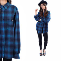 Blue Plaid Shirt 90s Grunge Flannel Button Down DISTRESSED Vintage Long Sleeve Women Men Teal Blue OVERSIZED Retro Small Medium to XL