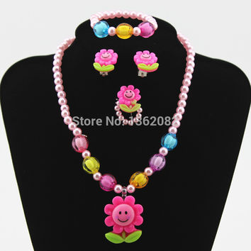 Baby Girls Imitation Pearl Beads Cute Sunflower Smiley Necklace/Bracelet/Ring/Earrings Kids Children Jewelry Set Gift TZ44