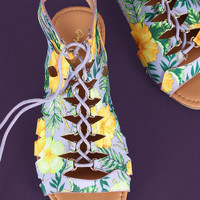 Qupid Tropical Caged Lace Up Open Toe Flat Sandal | UrbanOG