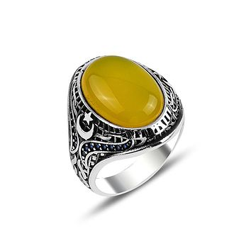 Mens ring 925 sterling silver with yellow amber gemstone