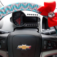 Chevron Steering Wheel Cover Aqua Red Car Accessories
