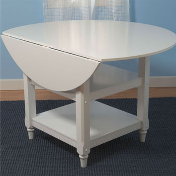 48-inch Round Dual Drop Leaf Dining Table in White Wood Finish