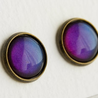 Illusionist Post Earrings in Antique Bronze - Purple, Violet, Indigo, Blue Shimmer Earrings