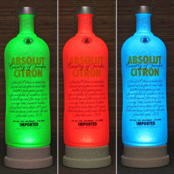 Big 1.75 Liter Absolut Citron Vodka RGB LED Remote Controlled Bottle Lamp Color Changing