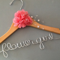 Flower girl Custom Wire Wedding Hanger with the extra special detail.  Great gift for that special person in your wedding.