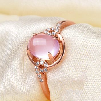 Pink And Light Green Stone Rings Jewelry For Women Adjustable Hollow Style Clear Crystal Accessory Rings For Wedding Party Gift
