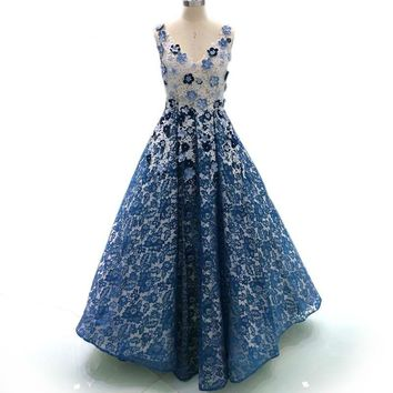Elegant 3D Floral Evening Dress Beaded Lace Navy Long Prom Dress V Neck Party Dress