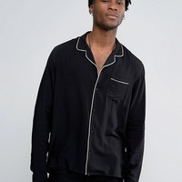 ASOS Regular Fit Viscose Pajama Shirt With Revere Collar at asos.com