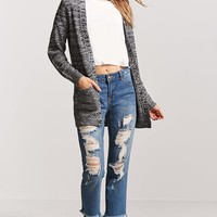 Marled Ribbed Open-Front Cardigan