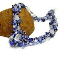 Sodolite and Moonstone Gemstone Necklace by AnandaBijoux