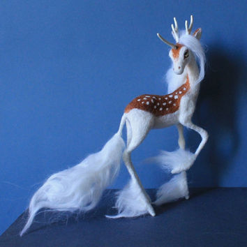 Made to order Kirin / Unicorn fawn needle felted Soft sculpture Wool figurine Felt toy Handmade OOAK fantasy art doll animal Animal plushie