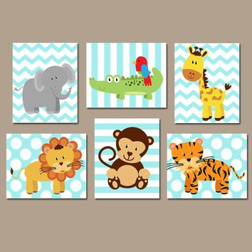 SAFARI Animal Wall Art, Baby Boy Animal Nursery Decor, Zoo Jungle Animal Theme, Boy Bedroom Wall Decor, Playroom CANVAS or Prints Set of 6