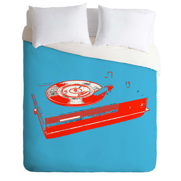 Romi Vega Record Player Duvet Cover