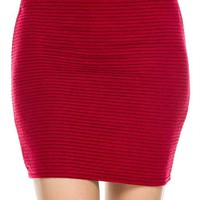 Casual Solid Textured Bodycon Slim Knit Stretch Tight Mini Skirt