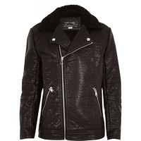 River Island Boys leather-look faux fur biker jacket
