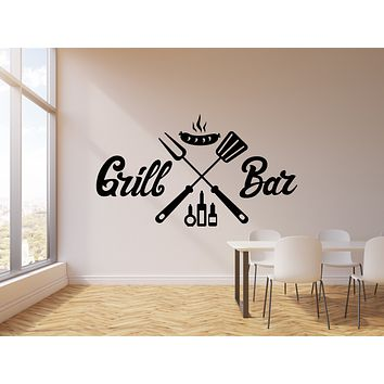 Vinyl Wall Decal Grill Bar BBQ Barbecue Sausage Decor Interior Art Stickers Mural (g920)