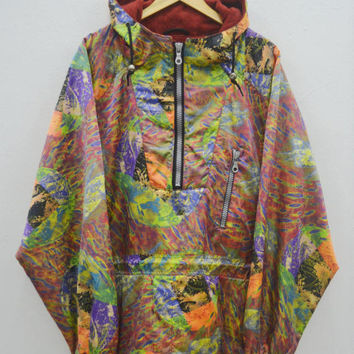 ASICS Psychedelic Jacket Vintage 90's Asics TEAM ASICS Winter Ski Wear Half Zipper Jacket Size L