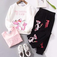 Pink Panther Girls Boys Children Baby Toddler Kids Child Fashion Casual Top Sweater Pullover Pants Trousers Two Piece Set