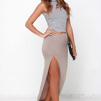 Crowd-Puller Taupe Maxi Skirt