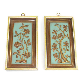 Shabby Mid-Century Shadow Box Wall Plaques by Yolande, TMC / Chicago - Gold & Turquoise Art, Diptych Style Panels - Vintage Home Decor