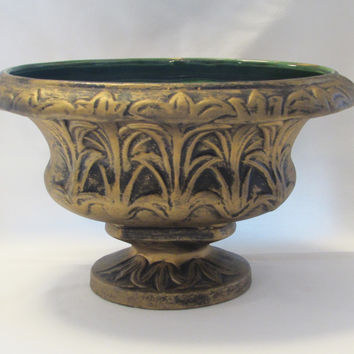 Vintage Urn Planter Gold and Green Ceramic