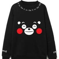 Kpop Bts Sweatshirts Suga Hoodies Pullover Women Men Kumamon Loose Casual Tracksuit Black Cotton Top