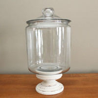 Reserved for leveringa Upcycled Pedestal Apothecary Jar, Wedding Decor, Candy Bar, Buffet, Shabby Chic