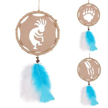 2016 New  Indian Style Hollow Design Handmade Dream Catcher Feathers Core Bead Dreamcatcher for Wall Car Decoration