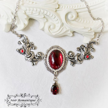 Silver Victorian Ruby Flourish Necklace- Silver N925, Bridal Jewelry-Victorian Gothic Necklace with ruby gem-gothic necklace