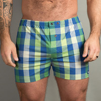 Green, Blue & White Plaid Boxer Short - Nelson