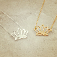 jewelry chain link Lotus pendant necklace for  girl nice gift N1730