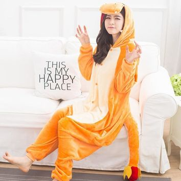 Cool Pokemon Charmander Animal Cosplay Costume Onesuit Hoodie For Adult Women Men Halloween Holiday Party Flannel Full LengthAT_93_12