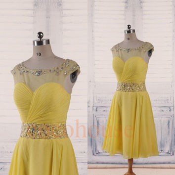 Yellow Beaded Short Prom Dresses 2015, Fashion Bridesmaid Dresses, Hot Party Dresses ,Homecoming Dresses ,Evening Dress, Wedding Party Dress