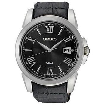 Seiko LeGrand Sport Solar Watch - Stainless Steel - Black Dial - Leather Strap