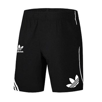 Adidas clover shorts summer sports fitness shorts breathable training shorts beach shorts black