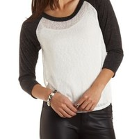 Side Slit High-Low Baseball Tee by Charlotte Russe